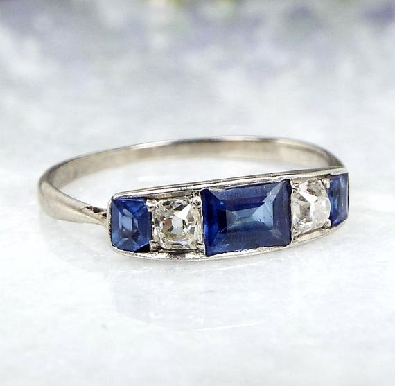 Antique Edwardian Art Deco 18ct White Gold Sapphire and Diamond Ring Size L 1/2