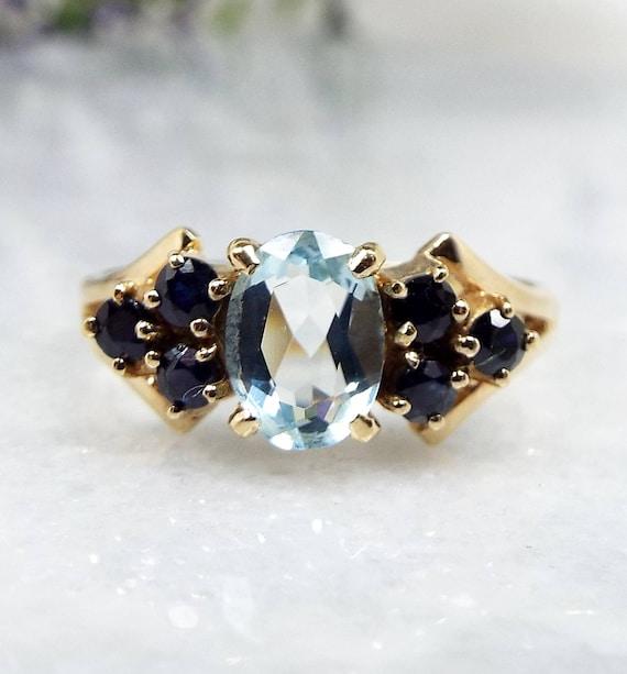 Vintage 1996 9ct Yellow Gold Blue Aquamarine & Diamond Daisy Cluster Ring / Size O
