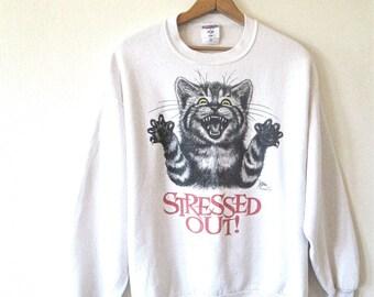 Vintage 1990s STRESSED OUT Cat Sweatshirt Sz L