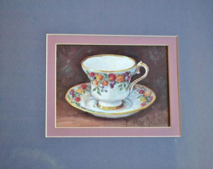 Vintage Barbara Mock Teacup Print Framed with Glass Teacup Art Tearoom Tea Party Decor PanchosPorch