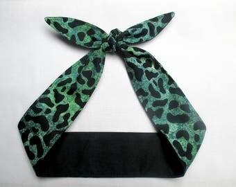 Rockabilly Skinny Narrow  Headband GREEN Black LEOPARD print Pinup Vintage Retro Style 50s Animal Print Cheetah