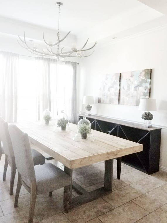 Modern Farmhouse Dining Room Office Reveal: Made To Order Modern Rustic Farmhouse Dining Table In Natural