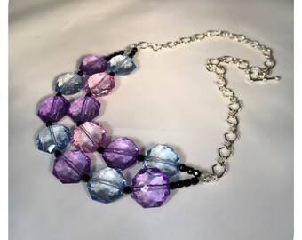 Double Strand Acrylic Necklace, Purple, Pink, Blue