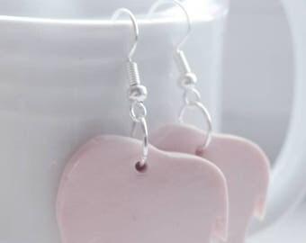 Pink handmade polymer clay elephant drop earrings