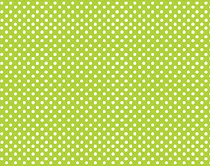 """28"""" REMNANT Green Farms - On the Dot in Green / White - Cotton Quilt Fabric - by Kanvas for Benartex Fabrics 5174-44 (W2891)"""