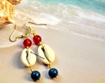 Ethnic Jewelry Patriotic Earrings Cowrie Shell Earrings Summer Earrings Beach Earrings Boho Earrings Afrocentric Jewelry Dangle Earrings