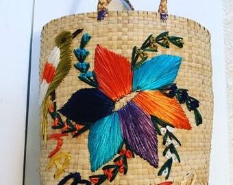 Vintage Jamaica straw tote bag