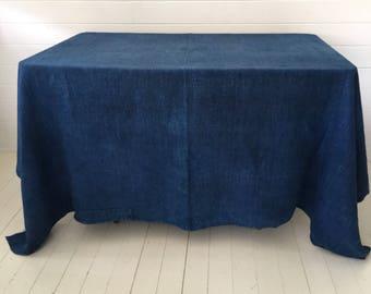 DTS1705  Plain Indigo Tablecloth/Sheet Linen Vintage Fabric Handmade Linen