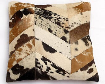 Natural Cowhide Luxurious Patchwork Hairon Cushion/pillow Cover (15''x 15'')a254