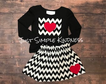 Valentine's Day Outfit, Valentine's Day Shirt, Valentine's Day Skirt, Girls Heart Outfit, Girls Outfit, Girls Black Outfit, Heart, Love