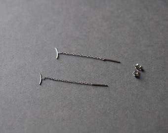 Silver Hanger Threader Earrings, Long Chain Earrings - Sterling Silver