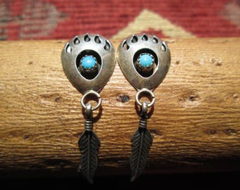 Turquoise and Sterling Bear Paw and Feather Post Dangle Earrings