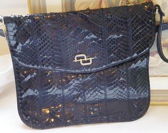 French vintage black patent faux lizard  handbag , black Kelly bag, black handbag,black bag