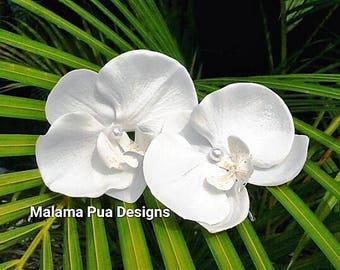 Silk Orchid hair pin, Ivory, Flower clip, Real Touch, Hair accessory, Tropical hair flower, Beach Wedding, bridal hair clip, Tropical Hawaii