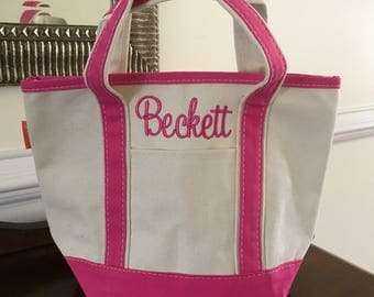 Small Canvas Tote Bag - Monogrammed - Daycare Bag - Personalized Kids Tote - Birthday Gift for Girls - New Baby Gift