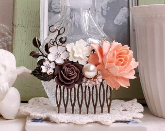 Vintage inspired rustic hair comb Garden wedding Peach brown and white flowers Fall wedding comb