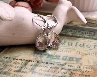 Sparkling pear shape teardrop clear crystal drop earrings Leverback silver earwires Vintage inspired Gift earrings