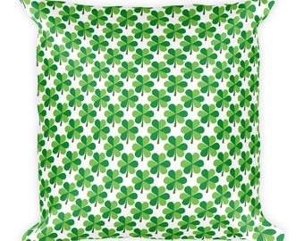 St. Patrick's Day Green Shamrocks Square Pillow
