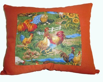 Fall rooster pillow/ Polka dot Rooster pillow/ Rooster pillows/ Rust pillows/ Decorative pillows/throw pillows /size is 18 in X 15 in