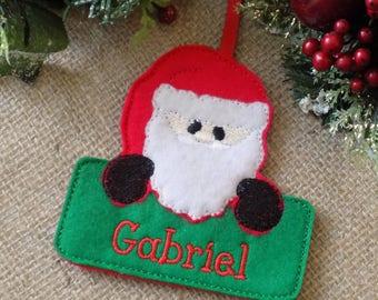 santa christmas decoration, personalised christmas decoration, christmas decoration, tree decoration, father christmas, xmas tree decoration