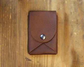 front pocket wallet - Leather wallet - mens wallet - business card holder - snap wallet