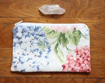 White cotton pouch floral