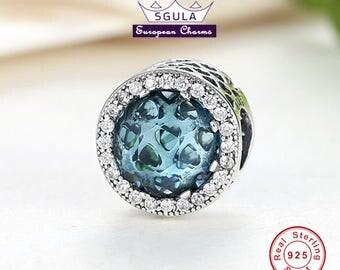 Authentic 925 Sterling Silver Charm European bead Radiant Divine blue, Clear CZ fit Pandora bracelet and European Bracelets