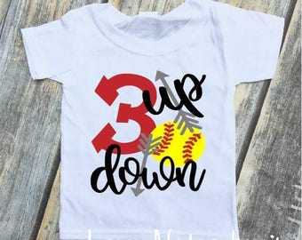 3 Up 3 Down Softball Toddler, Youth Tee