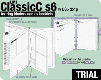 Trial [A5 ClassicC S6 with DS5 do1p] November to December 2017 - Filofax Inserts Refills Printable Binder Planner Midori.
