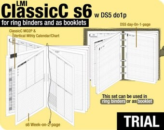 Trial [B6 ClassicC S6 with DS5 do1p] November to December 2017 - Filofax Inserts Refills Printable Binder Planner Midori.