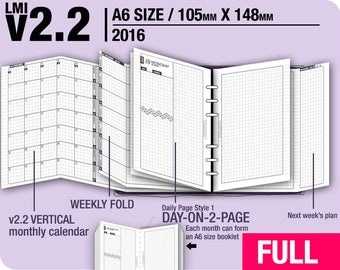 FULL [A6 v2.2 w DS1 do2p] January to December 2018 - Filofax Inserts Refills Printable Binder Planner Midori.