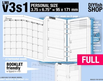 FULL  [PERSONAL v3s1 w/o DAILY] January to December 2018 - Filofax Inserts Refills Printable Binder Planner Midori.
