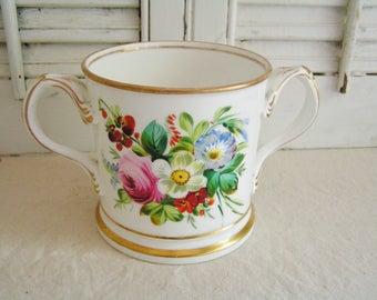 Antique Vintage Victorian Hand Painted Flowers Floral Porcelain Presentation Loving Cup Mug Victorian Mug