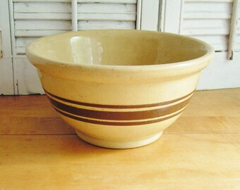 Vintage Yelloware Pottery Brown Stripe Mixing Bowl Primitive Country Kitchen Robinson Ransbottom