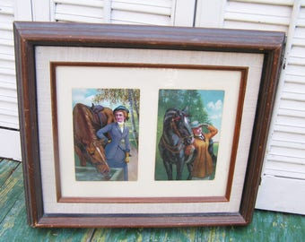 2 Antique Colored Equestrian and Rider Postcards Professionally Framed  Vintage Horse Postcards Framed Victorian Postcards