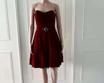 CLEARANCE Le Chateau 1980's vintage dress party dress prom dress cocktail dress boobtube dress red ladies dress size 8
