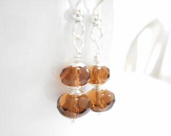 Brown Czech Glass Earrings, Smoky Quartz Faceted Fire Polished Glass Beaded Drop Earrings, Czech Glass Jewelry, Silver Dangle Earrings