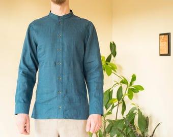 Blue-green linen men's shirt.