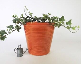 McCoy Mid Century Modern Tangerine Jardiniere Planter Vintage 1960