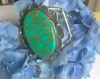 10 Day SALE: Vintage Navajo Silver & Turquoise Bracelet/Cuff-Large Native American Turquoise Cuff Bracelet-Navajo