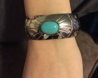 Sale: Signed Vintage Turquoise and Silver Navajo Cuff Bracelet - Navajo Turquoise Cuff Bracelet - Silver Turquoise Cuff Bracelet