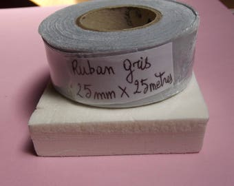 25 meters polyester SATIN Ribbon, Pearl gray grey 25mm wide for craft and sewing
