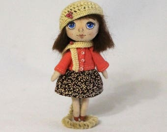 Miniature cloth doll  Tiny doll Rag doll in box Mini doll Doll in a knitted hat and scarf