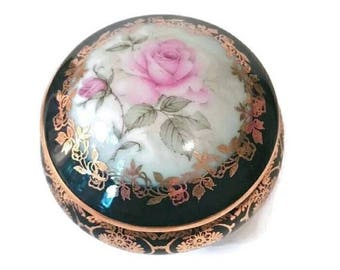 LIMOGES Roses Trinket Jewelry Box Vintage Pink ROSE Porcelain Floral Vanity Jar French Rosary Box Wedding Ring Proposal Valentines Gift Mom