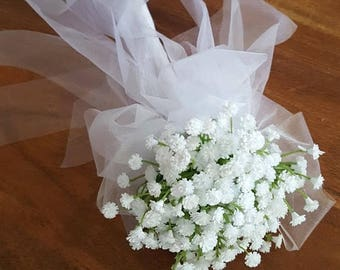 ON SALE Flower Girl Floral Wand -  White Baby's Breath Flower Wand for Flowergirl, Wedding Flowers for Flowergirl