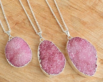 Agate Druzy Necklace, Agate Crystal Necklace, Agate Pink Pendant, Agate Druzy Pendant, Agate, Crystal,