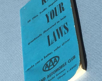 1959 Cleveland Auto Club AAA Traffic Regulations Guide