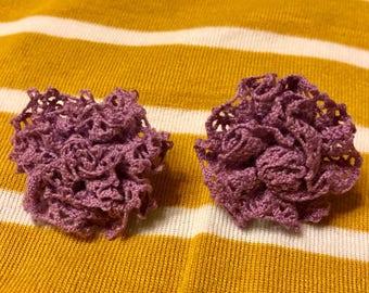 Lacey Flower Earrings in Lilac