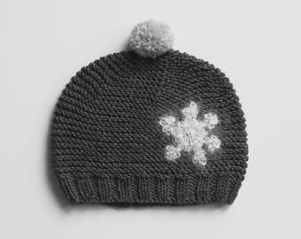 NOELLE Baby Girl Knitted Merino Hat,Snowflake Hat, Shower Baby Gift,Size 0-3 months,Christmas Baby Gift,Baby Girl Photo Prop, Ready to Ship