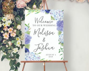 Custom Welcome Sign - Wedding Welcome Sign - Bridal Shower Welcome Sign - Baby Shower Welcome Sign - Hydrangea Welcome - Print or Digital